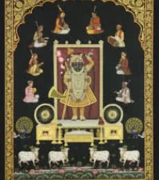 Religious Tribal Art Painting title 'Srinathji with Musicians' by artist Rajendra Khanna