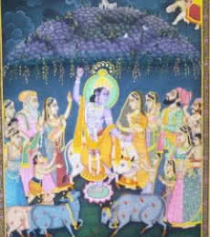 Religious Tribal Art Painting title Lord Krishna with Cow by artist Rajendra Khanna