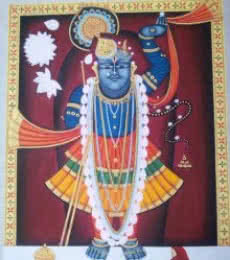Religious Tribal Art Painting title Lord Sreenath by artist Rajendra Khanna