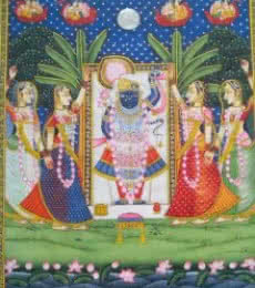 Religious Tribal Art Painting title Srinathji Darshan by artist Rajendra Khanna