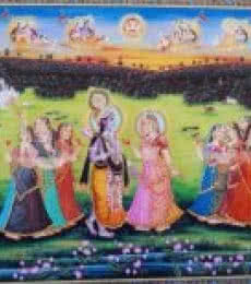 Rajendra Khanna Paintings | Tribal Painting - Krishna meets Radha by artist Rajendra Khanna | ArtZolo.com