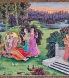 Religious Tribal Art Painting title Radha Krishna in Jhula by artist Rajendra Khanna