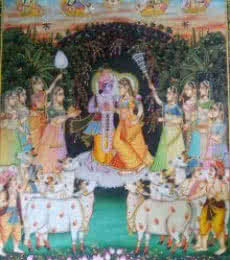 Religious Tribal Art Painting title Krishna Radha with Cows by artist Rajendra Khanna