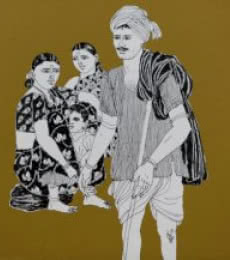 Laxman Aelay | Acrylic Painting title Song of Village 12 on Canvas | Artist Laxman Aelay Gallery | ArtZolo.com