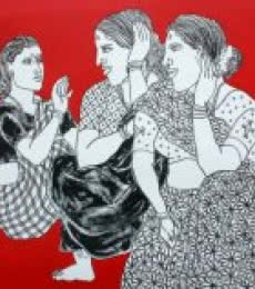Laxman Aelay | Acrylic Painting title Song of Village 44 on Canvas | Artist Laxman Aelay Gallery | ArtZolo.com
