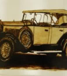Sakshi Jain Paintings | Lifestyle Painting - Vintage Car 3 by artist Sakshi Jain | ArtZolo.com