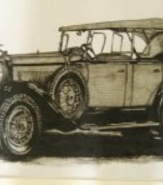 Lifestyle Charcoal Art Painting title 'Vintage Car 2' by artist Sakshi Jain