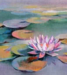 Swati Kale Paintings | Oil Painting - Water Lilies 15 by artist Swati Kale | ArtZolo.com