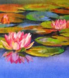 Nature Oil Art Painting title 'Water Lilies 17' by artist Swati Kale