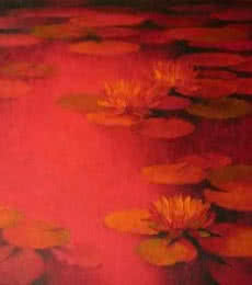 Nature Oil Art Painting title 'Water Lilies 24' by artist Swati Kale