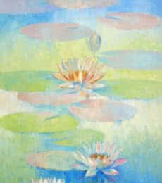 Swati Kale Paintings | Oil Painting - Water Lilies 69 by artist Swati Kale | ArtZolo.com