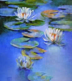 Nature Oil Art Painting title 'Water Lilies 19' by artist Swati Kale