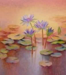 Nature Oil Art Painting title 'Purple Lilies' by artist Swati Kale