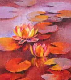 Nature Oil Art Painting title 'Water Lilies 12' by artist Swati Kale