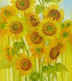 Nature Oil Art Painting title 'Sunflowers' by artist Swati Kale