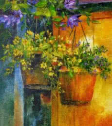 Nature Oil Art Painting title Flower Hanging Pots by artist Swati Kale