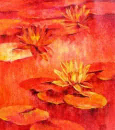 Nature Oil Art Painting title 'Water Lilies 51' by artist Swati Kale