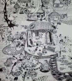 Women at Work   Drawing by artist Fatema Lodhger      pen   Paper