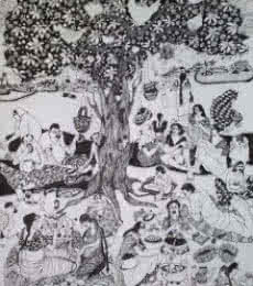 Figurative Pen Art Drawing title Picnic by artist Fatema Lodhger