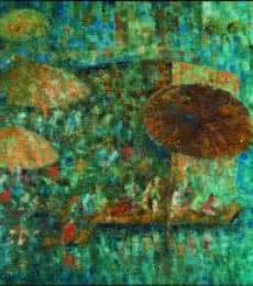 Upendra Nayak | Oil Painting title Mushroomed Umbrella on Canvas | Artist Upendra Nayak Gallery | ArtZolo.com