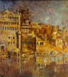 Upendra Nayak | Oil Painting title Ancient Castle I on Canvas | Artist Upendra Nayak Gallery | ArtZolo.com
