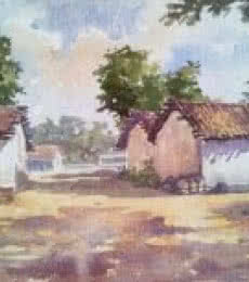 Landscape Watercolor Art Painting title 'Village' by artist Gaurishankar Behera