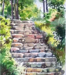 Landscape Watercolor Art Painting title 'Steps' by artist Gaurishankar Behera