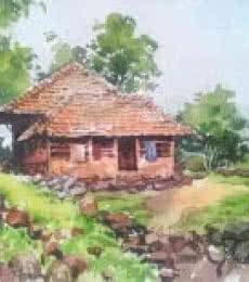 Landscape Watercolor Art Painting title 'Monsoon' by artist Gaurishankar Behera