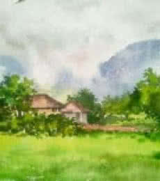 Landscape Watercolor Art Painting title 'Monsoon' by artist Gaurishankar Behera