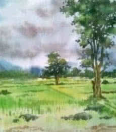Landscape Watercolor Art Painting title Monsoon by artist Gaurishankar Behera