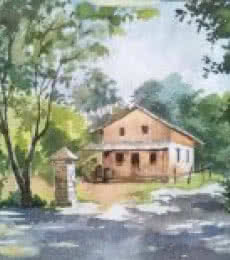 Gaurishankar Behera | Watercolor Painting title Farmhouse on Paper | Artist Gaurishankar Behera Gallery | ArtZolo.com