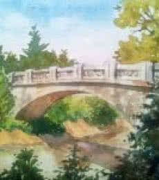 Landscape Watercolor Art Painting title 'The bridge' by artist Gaurishankar Behera