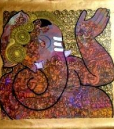 Abstract Acrylic Art Painting title 'Ganesh' by artist Ramesh Gorjala