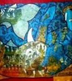 Abstract Acrylic Art Painting title Matsya by artist Ramesh Gorjala