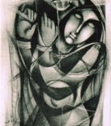 NP Pandey Paintings | Charcoal Painting - Untitled by artist NP Pandey | ArtZolo.com