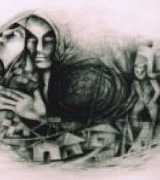 NP Pandey | Charcoal Painting title Untitled on Paper | Artist NP Pandey Gallery | ArtZolo.com