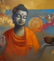 Figurative Oil Art Painting title Buddha Ananda by artist Sanjay Lokhande