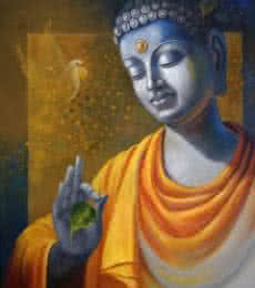 Figurative Acrylic Art Painting title Budhha Wisdom by artist Sanjay Lokhande