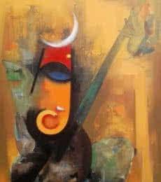 Vishal Phasale Paintings | Acrylic Painting - Bhalchandra Ganesha by artist Vishal Phasale | ArtZolo.com