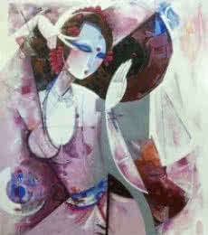 Nrutyachandrika 59 | Painting by artist Vishal Phasale | acrylic | Canvas