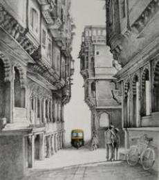 Cityscape Mixed-media Art Painting title 'Auto' by artist Milind Varangaonkar