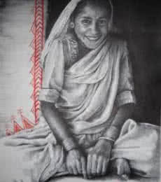 Figurative Mixed-media Art Painting title 'Indian Woman' by artist Milind Varangaonkar