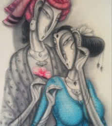 Ramesh Pachpande | Charcoal Painting title Happy Couple on Paper | Artist Ramesh Pachpande Gallery | ArtZolo.com
