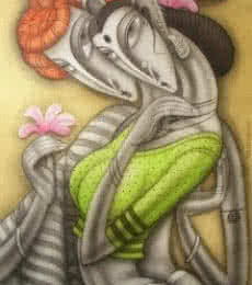 Figurative Acrylic Art Painting title 'Lovely Couple' by artist Ramesh Pachpande