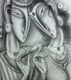 Figurative Charcoal Art Painting title 'Loving Couple' by artist Ramesh Pachpande