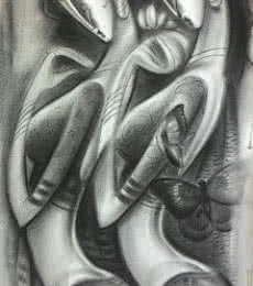 Figurative Charcoal Art Painting title 'Beautiful Women' by artist Ramesh Pachpande