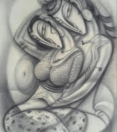 Figurative Charcoal Art Painting title 'Love II' by artist Ramesh Pachpande