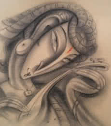 Figurative Charcoal Art Painting title 'Musician III' by artist Ramesh Pachpande