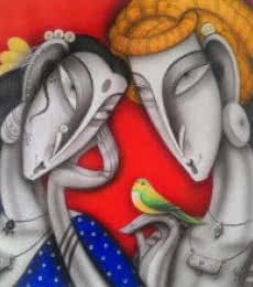 Ramesh Pachpande | Acrylic Painting title Couple with a Bird I on Canvas | Artist Ramesh Pachpande Gallery | ArtZolo.com