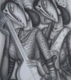 Figurative Charcoal Art Painting title 'Musicians' by artist Ramesh Pachpande